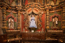 East transept of the Mission with statue of the Virgin Mary. San Xavier Del Bac, Tucson Arizona. - Photo #47200