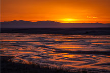 Sunset on Medano creek. Great Sand Dunes National Park, Colorado. - Photo #33201