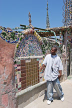 Tour guide at Watts Towers. Watts, Los Angeles, California, USA. - Photo #6801