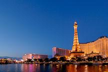 Night view of Paris Las Vegas hotel and Las Vegas Boulevard. Las Vegas, Nevada, USA. - Photo #13310