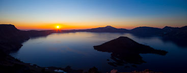 Panorama of sunrise over Crater Lake. Crater Lake National Park, Oregon. - Photo #27410