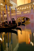 Reflection and gondolas. The Venetian, Las Vegas, Nevada, USA. - Photo #13510