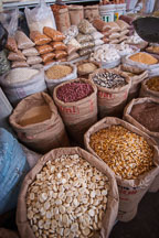 Dried beans and other produce for sale in the central market. Cusco, Peru. - Photo #9449