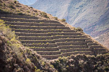Terraces near Machu and Wayna Q'ente. Inca trail, Peru. - Photo #9627