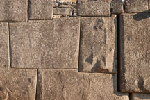 Stone wall at Machu Picchu with interlocking blocks. Peru. - Photo #9997