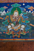 Painting of Yulkhorsung, the white king of the east, playing the lute. Paro Dzong, Bhutan. - Photo #24011