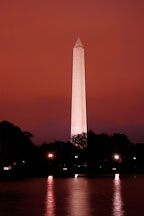 Washington Monument at night with a red sky. Washington, D.C., USA. - Photo #10951