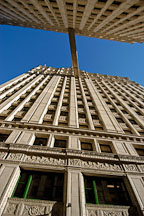 Looking up between the south and north tower of the Wrigley Building. Chicago, Illinois, USA. - Photo #10474