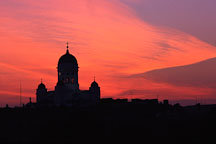 Silhouette of the Cathedral against a red sky. St. Nicholas' Church. Helsinki, Finland. - Photo #312