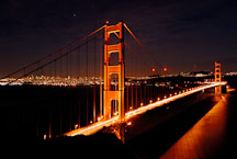 Golden Gate Bridge at night. San Francisco, California, USA. - Photo #11746