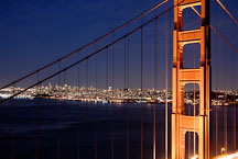Golden Gate Bridge at night. San Francisco, California, USA. - Photo #11748