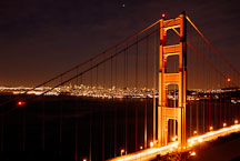 Golden Gate Bridge at night. San Francisco, California, USA. - Photo #11749