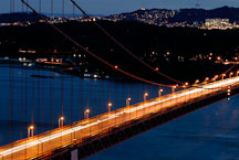 Night traffic over the Golden Gate Bridge. San Francisco, California, USA. - Photo #11726