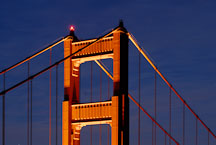 North tower of the Golden Gate Bridge at night. San Francisco, California, USA. - Photo #11742