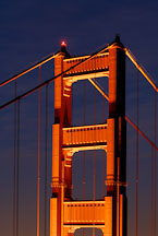 Top of the North tower of the Golden Gate Bridge at night. San Francisco, California, USA. - Photo #11743