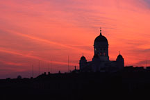 Cathedral with a red sky. St. Nicholas' Church. Helsinki, Finland. - Photo #313
