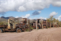 Row of abandoned cars. Goldfield, Phoenix, Arizona, USA. - Photo #5513