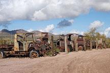 Row of abandoned cars. Goldfield, Phoenix, Arizona, USA. - Photo #5513