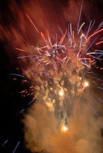 Fireworks at the closing ceremonies of the Special Olympics. Ames, Iowa, USA. - Photo #12966