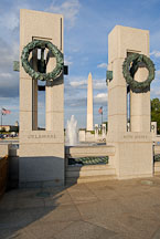 Washington Monument between two pillars at the National World War II Memorial. Washington, D.C., USA. - Photo #12756