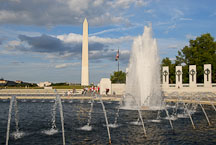 World War II Memorial and the Washington Monument. Washington, D.C., USA. - Photo #12760