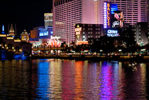 Lights from Las Vegas Boulevard reflecting onto water. Las Vegas, Nevada, USA. - Photo #13336
