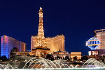 Night view of the Bellagio water show and Paris Las Vegas hotel. Las Vegas, Nevada, USA. - Photo #13323