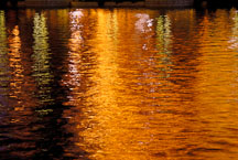 Orange reflections of lights from the strip onto water. Las Vegas Boulevard, USA. - Photo #13334