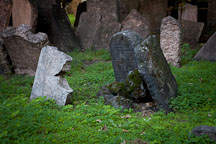 Crumbling gravestones in the Old Jewish Cemetery. Prague, Czech Republic - Photo #29515