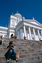 Girl reading on the steps of the Cathedral. St. Nicholas' Church. Helsinki, Finland - Photo #415