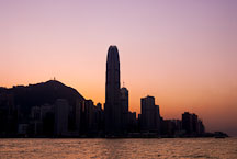 Glowing sunset over Hong Kong Island. Hong Kong, China. - Photo #14567