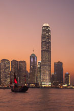 Hong Kong skyline at sunset with IFC Tower. Hong Kong, China. - Photo #14610
