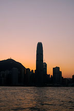 Silhouette of Two IFC tower and Hong Kong Island. Hong Kong, China. - Photo #14566