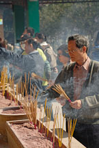 Burning incense. Wong Tai Sin Temple, Hong Kong, China. - Photo #15765