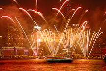 Fireworks over Victoria Harbor. Hong Kong, China. - Photo #15974