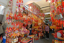 Stalls selling incense and other decorations. Wong Tai Sin Temple, New Kowloon. - Photo #15832