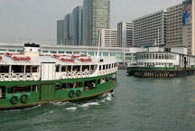 Star Ferry approaching Kowloon Pier. Hong Kong, China. - Photo #15307