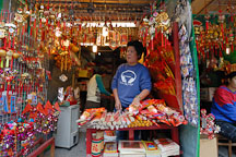Stalls selling incense and other decorations. Wong Tai Sin Temple, New Kowloon. - Photo #15838