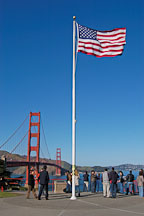 American flag and Golden Gate Bridge. San Francisco, California, USA. - Photo #2717