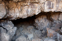 Entrance to Sentinel Cave. Lava Beds NM, California. - Photo #27317