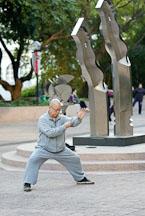 Man practicing Tai Chi. Kowloon Park, Hong Kong, China. - Photo #14717