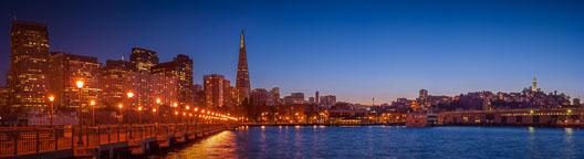 San Franciso skyline from Pier 7 at night. San Francisco, California. - Photo #2017