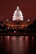U.S. Capitol at night with the Capitol reflecting pool. Washington, D.C., USA. - Photo #11017