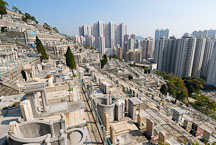 The Chinese Permanent Cemetery lies in the hills above Aberdeen. Hong Kong, China. - Photo #16314