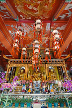 Interior of the Po Lin Monastery and three bronze Buddhas. Lantau Island, Hong Kong, Chin. - Photo #16170