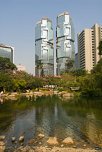 Lippo Centre Towers seen from Hong Kong Park. Hong Kong, China. - Photo #16514