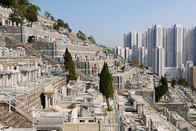 Tombstones are placed on different levels of the Chinese Permanent Cemetery. Hong Kong, China. - Photo #16318