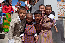 Group of young boys at the Thimphu tsechu festival. - Photo #22618