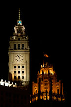 Wrigley Building and Tribune Tower at night. Chicago, Illinois, USA. - Photo #10418