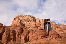 The Chapel of the Holy Cross is built into the red rock formations. Sedona, Arizona. - Photo #17824